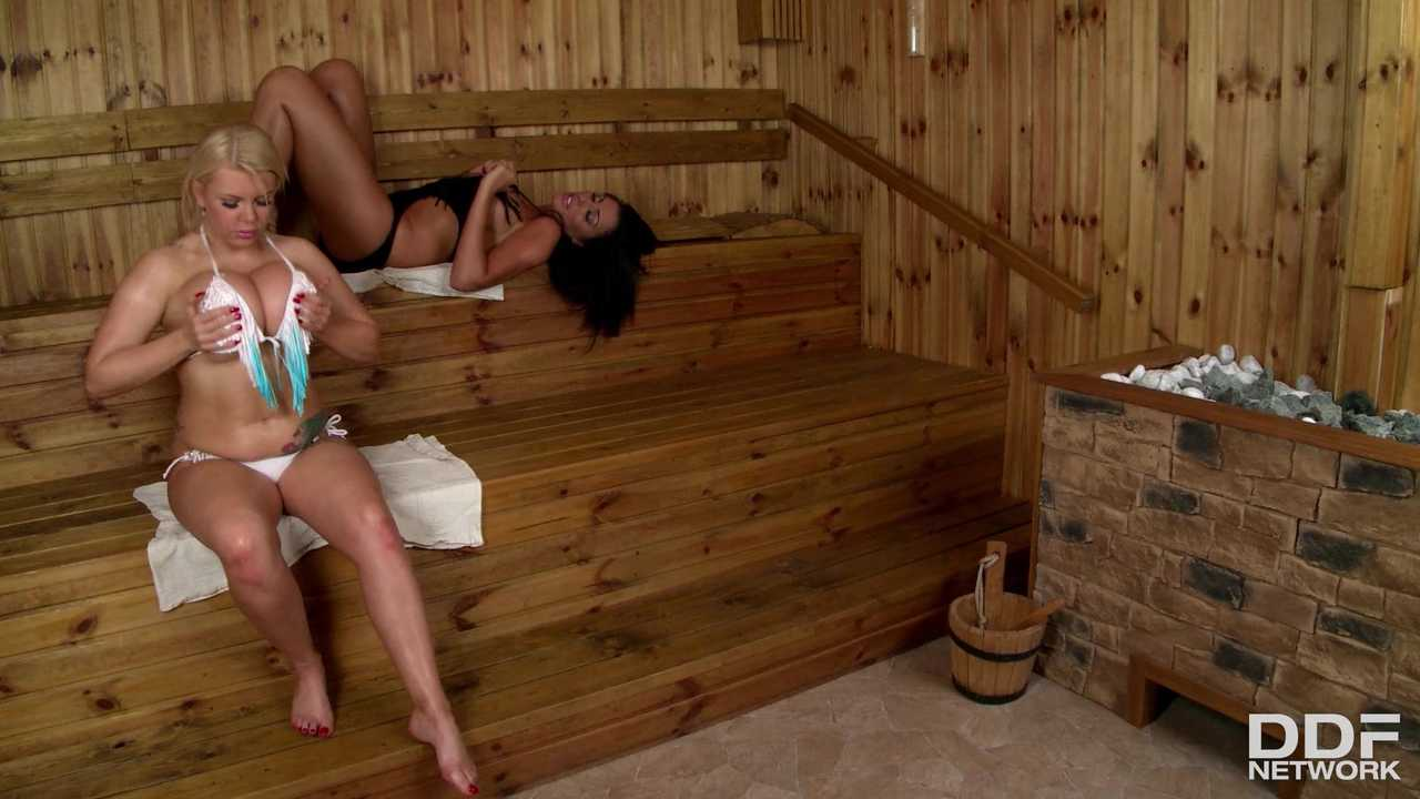 Hot, Sticky, and Steamy: Busty Babes Bang in the Sauna